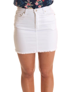 Short Denim Skirt With Fringed Hem in White  Frangipani Living frangipani-living2.myshopify.com