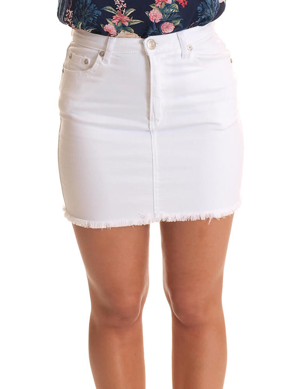 Short Denim Skirt With Fringed Hem in White