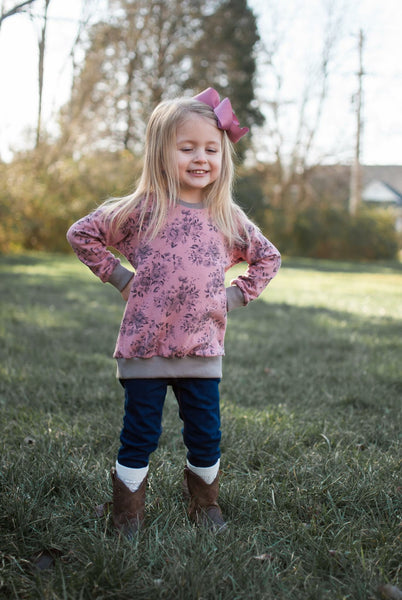 Hazel Crew Sweatshirt Blush & Charcoal Floral Made to Order