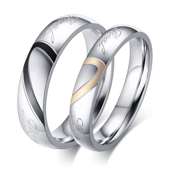 LOVE couple ring set for Her & Him Both rings included