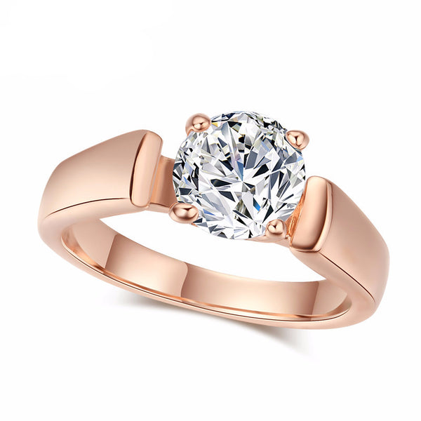 Round Cut Cubic Zirconia  Rings 4 Prongs Rose Gold