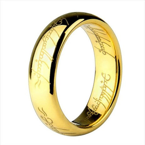 Hobbit Letters Male Gift Movie men's Titanium 316L Stainless Steel gold plated Rings For Men Women