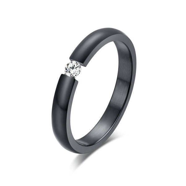 Simple Cute Black Solitaire ring