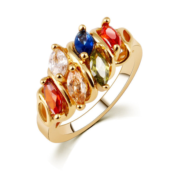 Colorful Ring Marquise Stones Cut