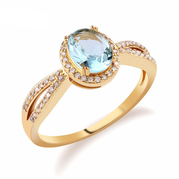 Gorgeous Halo Light Ice Blue Oval Crystal Rose Gold Pl