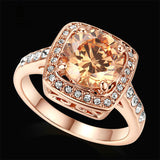 Royal Cut Cushion Ring For Her  3 Different Stones Colors   Rose or White Gold pl