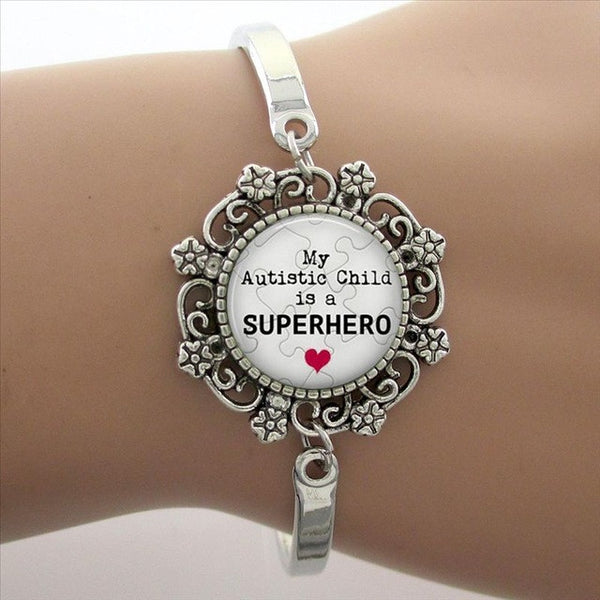 "The cure for Autism is unconditional Love"" Glass Gem Lace Charm Bracelet Phrase Note Photo Bangle High Quality"