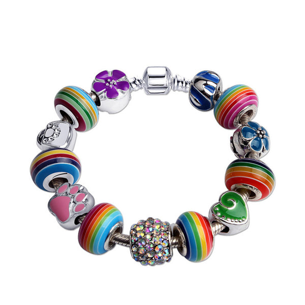 Free shipping Pandora Colorful Rainbow Striped DIY Beads Charms Bracelet  2017 New Style Great Gift Idea