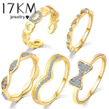 5 pcs/Set Brand Gold Color Heart Ring Set Bowknot Austrian Crystal Adjustable midi Ring anillos anel Rings for Women Wedding