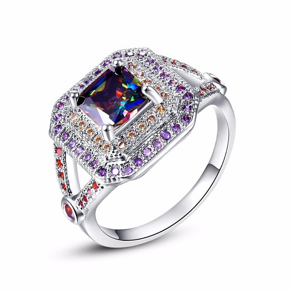 New Women Silver Rings Princess Cut Multi Color Gem Zircon Stones