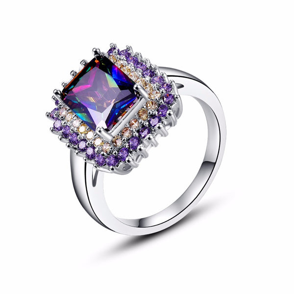 Classic  Princess Cut Rainbow Mystic Stone Silver Ring