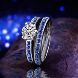 Brilliant Blue And white Genuine Cz set