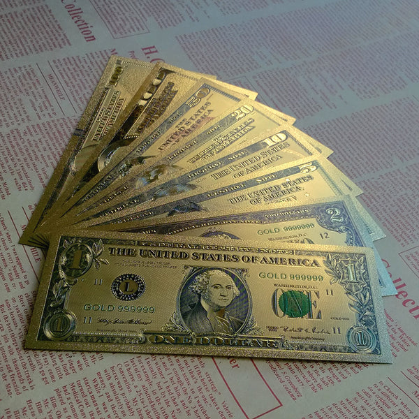 World Paper Money Collection 8pcs/Set Banknotes USA Dollars Gold Foil Bill Currency Collections Gift