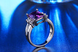 Brilliant Genuine Cz emerald Cut Amethyst ring
