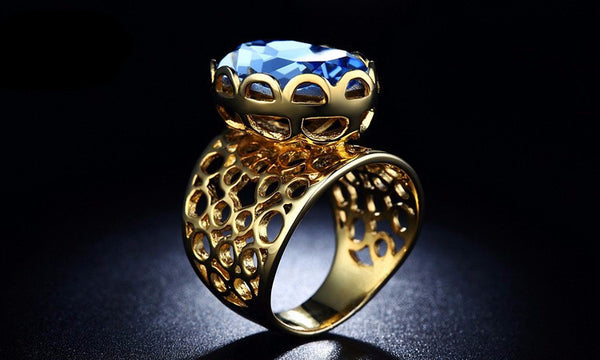 Unique design ring Blue Cz Bold N Rich