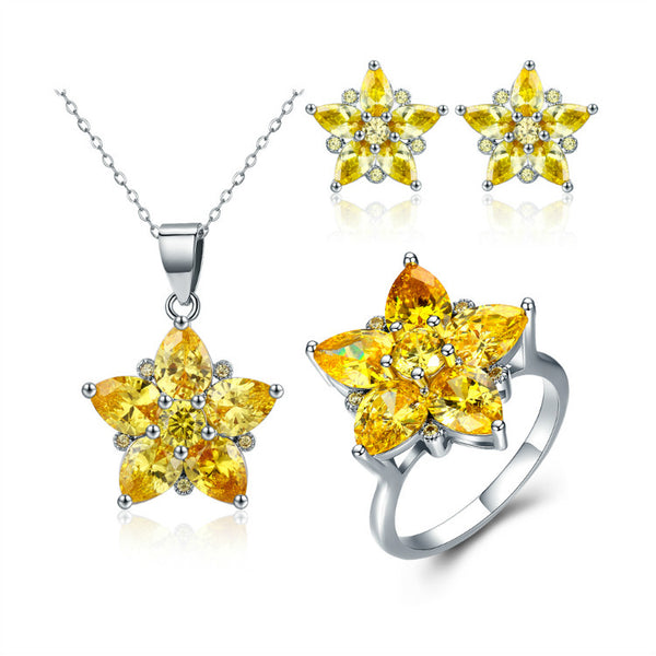 Brilliant yellow start Genuine Cz set