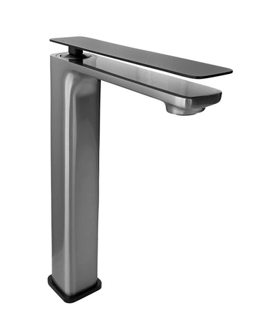 Zeek Brushed Nickel & Matt Black Handle Single Handle Tall Bathroom Faucet F-BN88