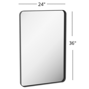 "Zeek 24""x36"" Black Metal Rectangular Wall Mirror, Thin Edge Frame, Deep Set Mirror MB3624"