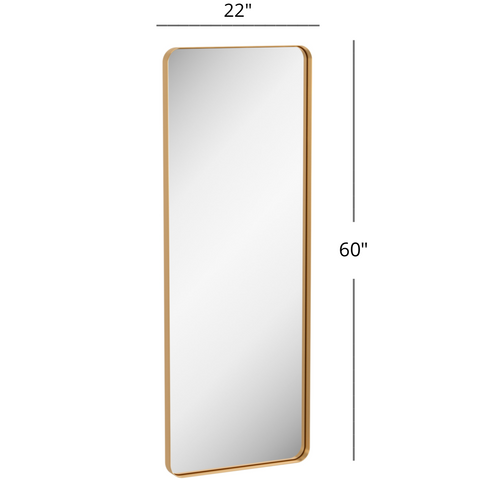 "Zeek 60"" x 22"" Gold Rectangular Tall Metal Mirror MG6022"