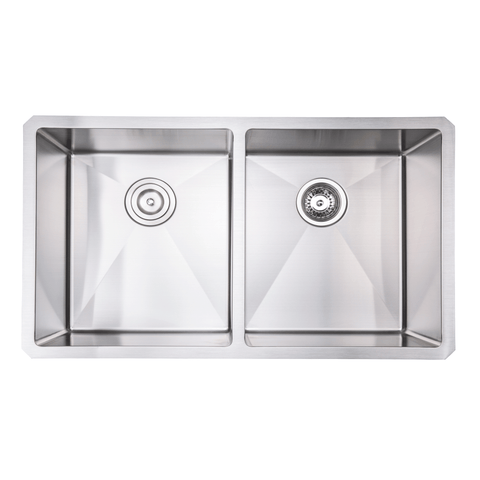"Zeek 32"" Small Radius Undermount Double Bowl Kitchen Sink ZH-5050"