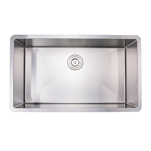 "Zeek ZH-SB32 32"" Small Radius Single Bowl Kitchen Sink"