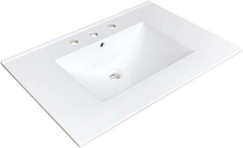 "Zeek CT-3108 31"" x 22"" Vitreous China Ceramic Bathroom Vanity Top with Sink  - 3 Faucet Hole"