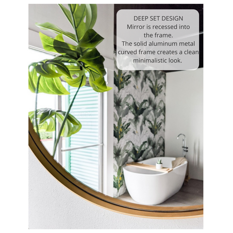 "Zeek 31.5"" Gold Metal Round Wall Mirror, Thin Edge Frame, Deep Set Mirror MG3200"