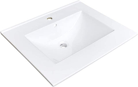 "Zeek CT-2801 25"" x 22"" Vitreous China Ceramic Bathroom Vanity Top with Sink  - 1 Faucet Hole"