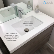 Zeek DN250 Brushed Nickel Pop-Up Drain With Overflow