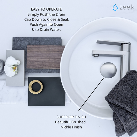 Zeek DN200 Brushed Nickel Pop-Up Drain No Overflow