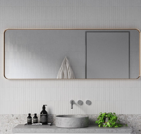 "Zeek 60""x22"" Gold Metal Rectangular Wall Mirror, Thin Edge Full Length, Deep Set Mirror MG6022"