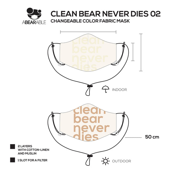 Changeable color fabric mask, Clean bear never dies 02