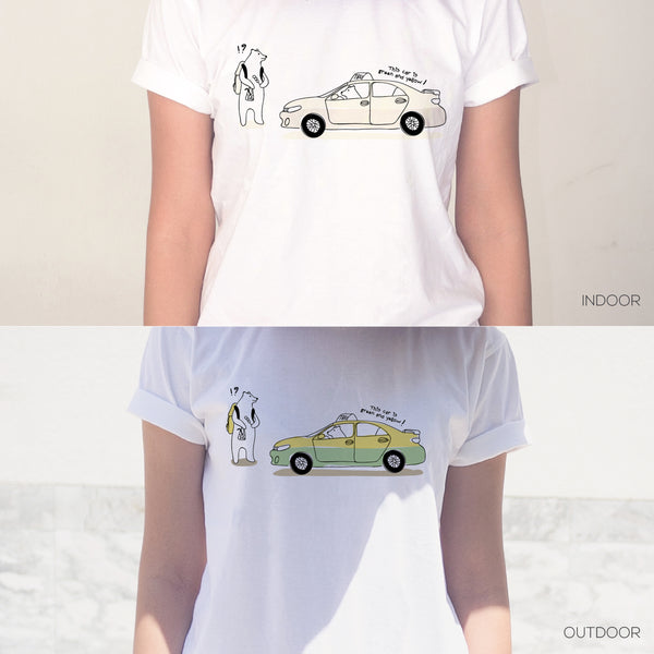 What color's this taxi?, Changeable color t-shirt
