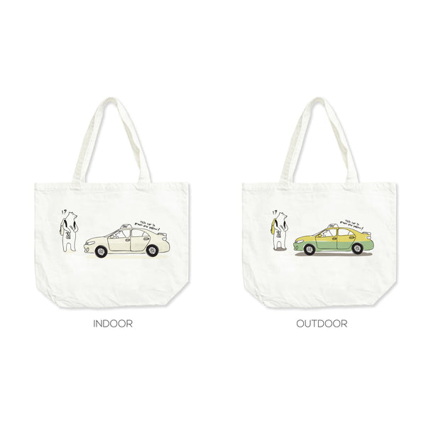 What color of this taxi?' ,Changeable color tote bag