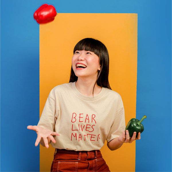 BEAR LIVES MATTER, Changeable color t-shirt (ฺBeige)