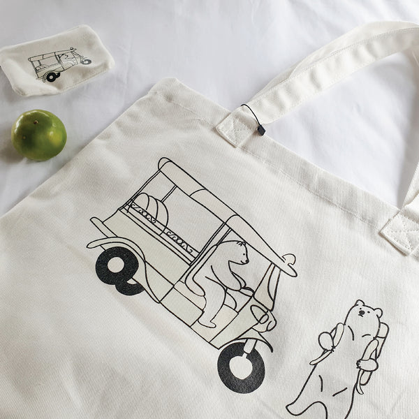 TUK TUK, WAIT FOR ME!, Changeable color tote bag