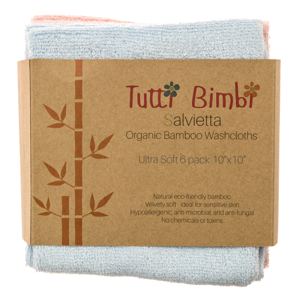 Organic Bamboo Baby Washcloths by Tutti Bimbi ✧ 6 Large Reusable Eco Wipes are Perfect for Bathing Babies ✧ Soft, Safe and Sustainable ✧ Gentle on Sensitive Skin ✧ Best Gift for Baby Shower