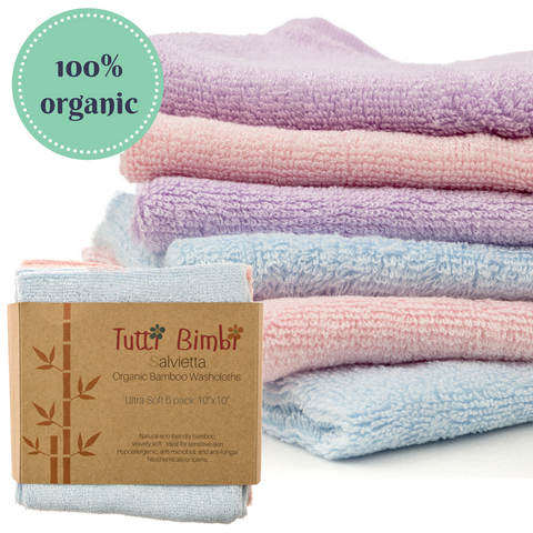 "Organic Bamboo Baby Washcloth Flannels ULTRA SOFT | 6 Pack | Certified Organic - Best Gift for Newborn Sensitive Skin, Eczema | Baby Travel Bathing Kit | 10"" x 10"" Large Extra-Thick Towels (512gsm)"