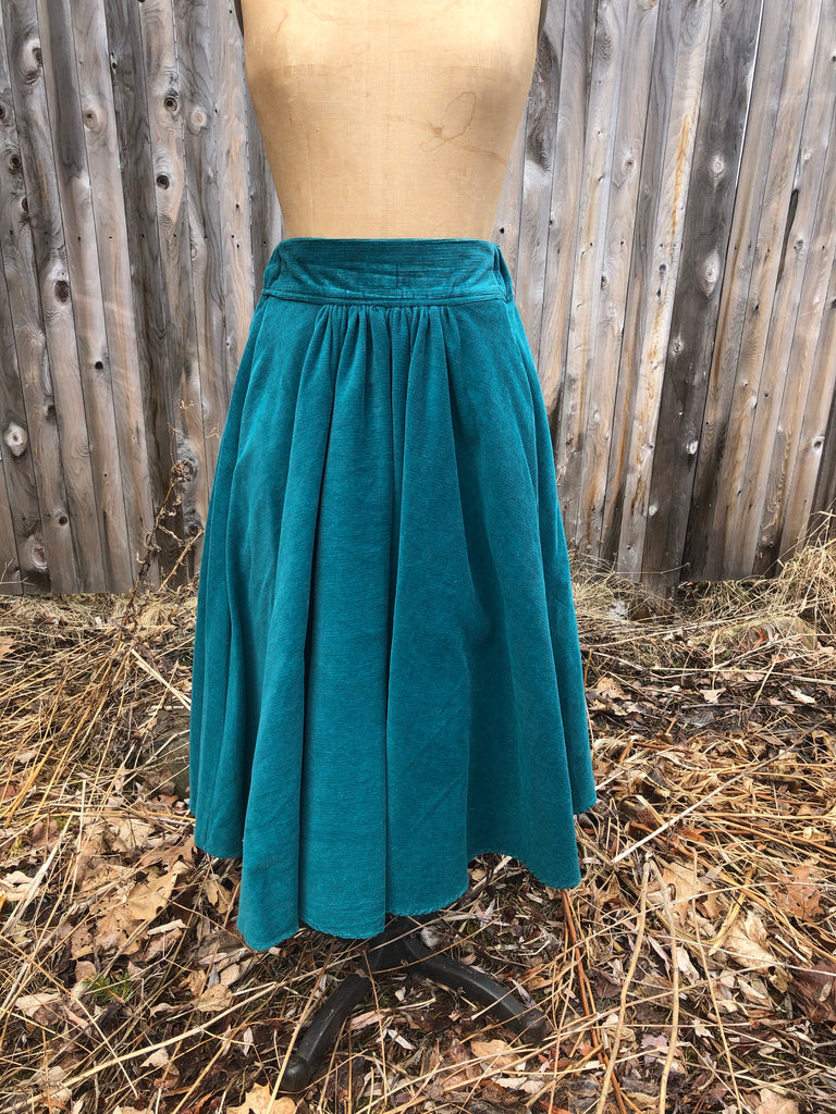 Emerald Corduroy Gathered Skirt