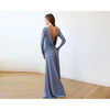 Bridesmaid Dresses - Shop Dusty blue Long Sleeve Formal Maxi Dress With Open-back 1041 from Style&Pose online