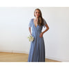 Bridesmaid Dresses - Shop Dusty Blue wrap maxi dress with short lace sleeves 1052 from Style&Pose online
