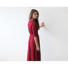 Bridesmaid Dresses - Shop Lace 3/4 length Sleeve Black maxi dress (Burgundy) from Style&Pose online
