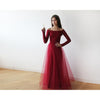 Bridesmaid Dresses - Shop Off-The-Shoulder Burgundy Lace and Tulle maxi dress (Blush Pink) from Style&Pose online