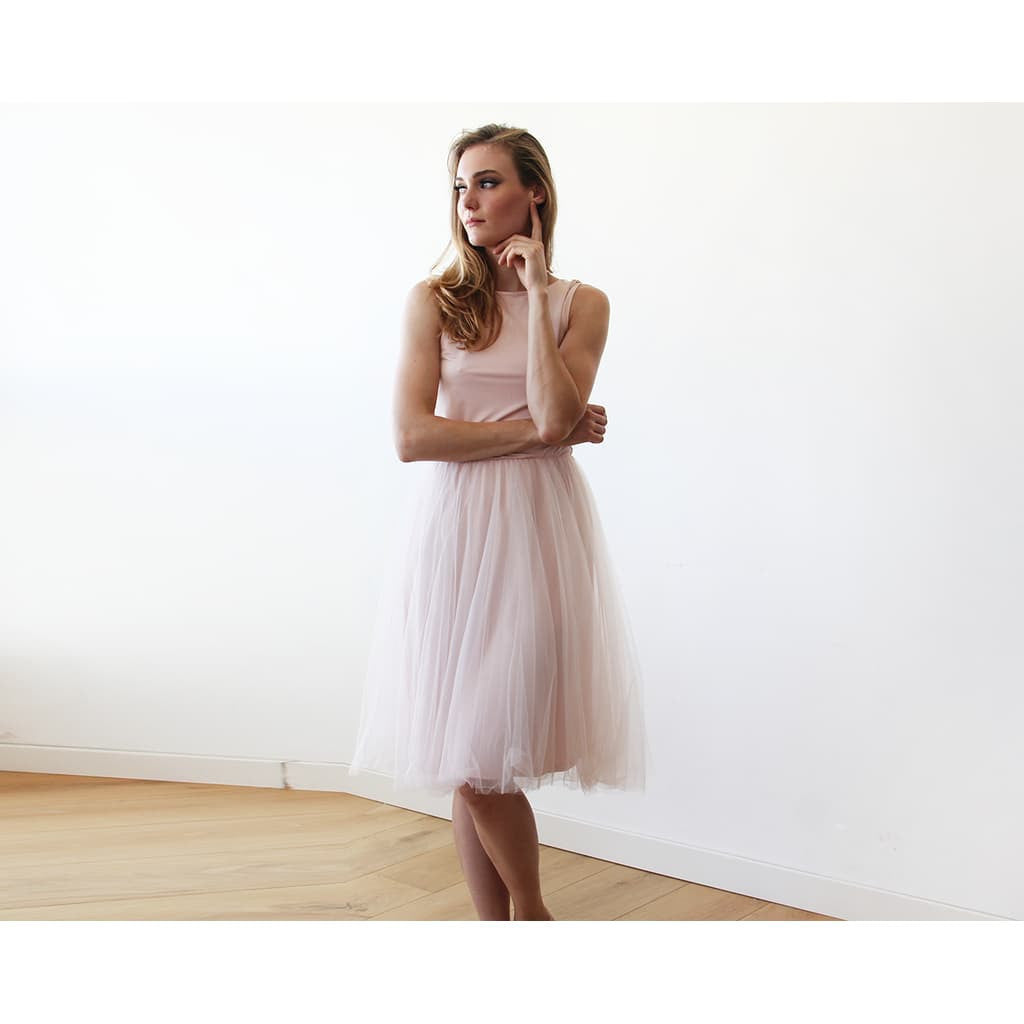 Bridesmaid Dresses - Shop Baby Pink Midi Tulle Dress with Open Back 1087 from Style&Pose online
