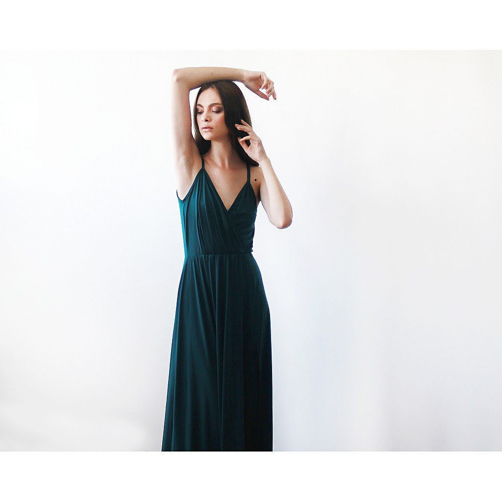 Bridesmaid Dresses - Shop Green forest straps wrap dress, Emerald bridesmaids dress with a slit from Style&Pose online