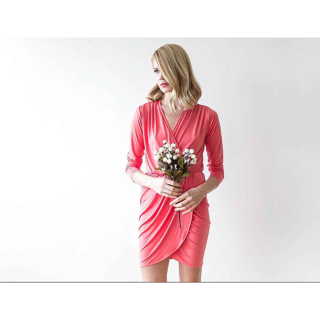 Bridesmaid Dresses - Shop Coral long sleeves mini wrap bridesmaid dress from Style&Pose online