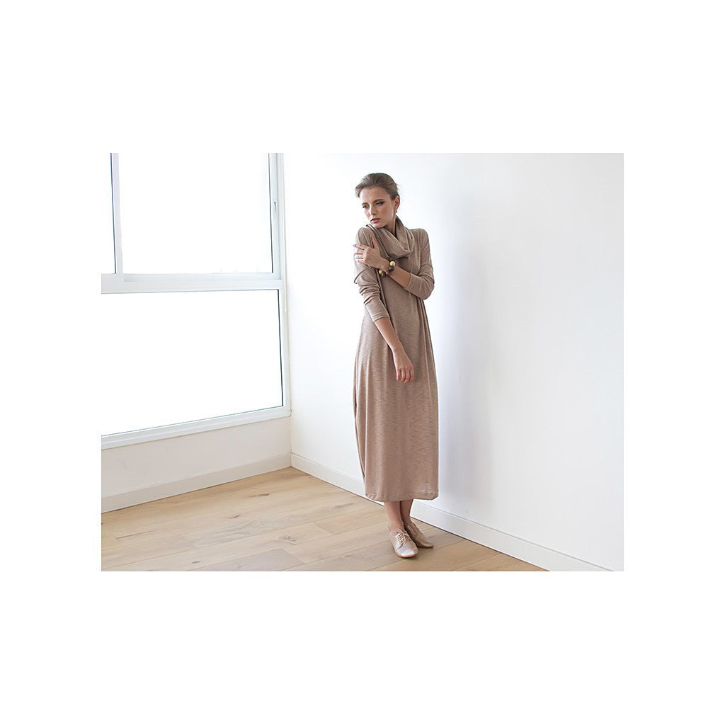 Dresses - Shop Turtle-Neck Maxi Dress, Beige Maxi Knitted Dress, Leisure Dress , Maxi Dress With Long Sleeves, Roll Neck Dress , Winter Dress from Style&Pose online