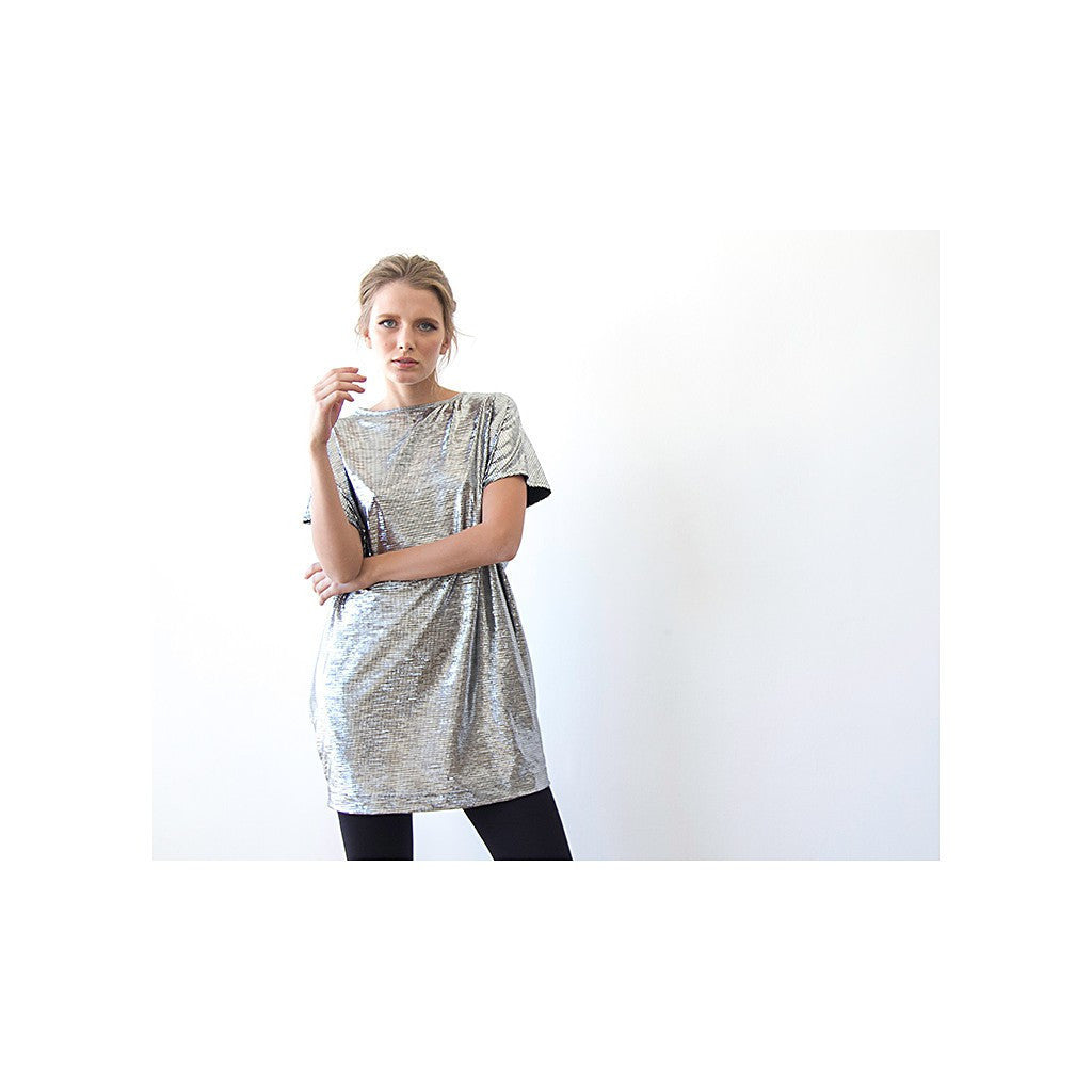 Dresses - Shop Metallic silver tunic with pockets , Sparkling mini silver dress from Style&Pose online