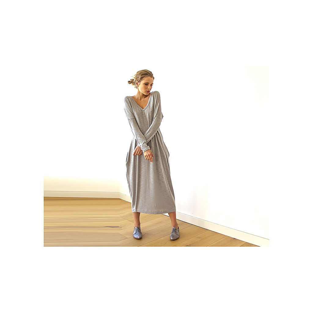 Dresses - Shop Gray Maxi Knitted Dress, Ligth Gray Cotton Dress , Casual Woman Dresses , Long Sleeves Maxi Dress from Style&Pose online