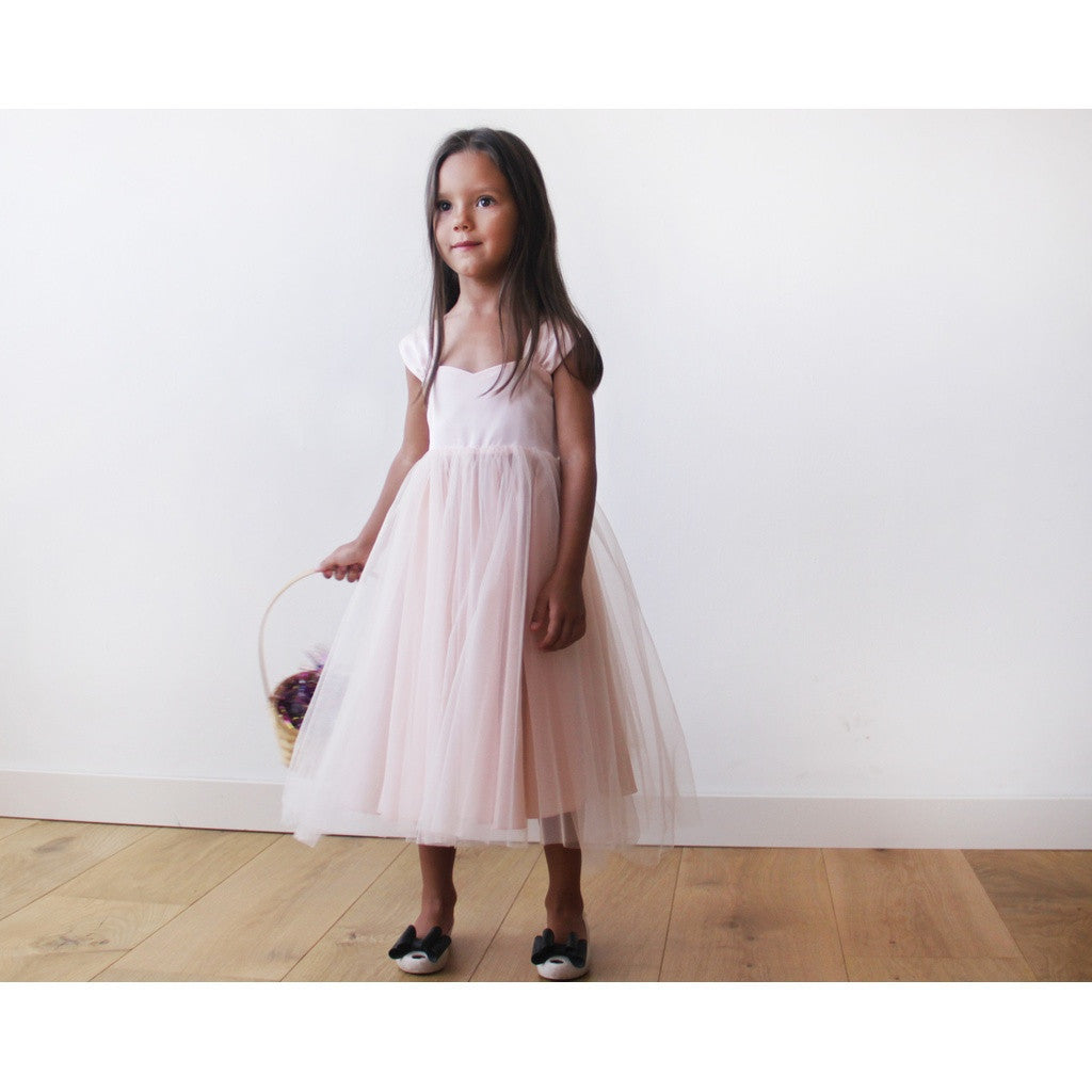 Flower Girl Dresses - Shop Blush Pink flower girl tulle dress from Style&Pose online